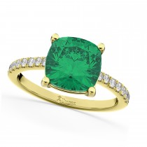 Cushion Cut Emerald & Diamond Engagement Ring 14k Yellow Gold (2.81ct)