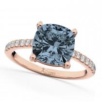 Cushion Cut Gray Spinel & Diamond Engagement Ring 14k Rose Gold (2.81ct)