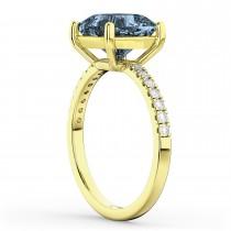 Cushion Cut Gray Spinel & Diamond Engagement Ring 14k Yellow Gold (2.81ct)