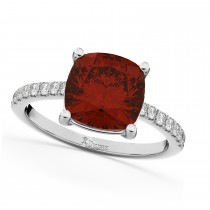 Cushion Cut Garnet & Diamond Engagement Ring 14k White Gold (2.81ct)