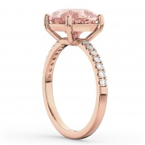 Cushion Cut Morganite & Diamond Engagement Ring 14k Rose Gold (2.81ct)