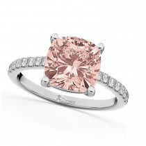 Cushion Cut Morganite & Diamond Engagement Ring 14k White Gold (2.81ct)