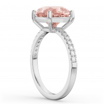 Cushion Cut Morganite & Diamond Engagement Ring 14k White Gold (2.81ct)|escape