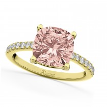 Cushion Cut Morganite & Diamond Engagement Ring 14k Yellow Gold (2.81ct)