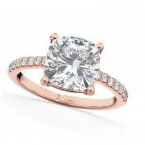 Cushion Cut Moissanite & Diamond Engagement Ring 14k Rose Gold (2.36ct)
