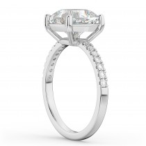 Cushion Cut Moissanite & Diamond Engagement Ring 14k White Gold (2.36ct)