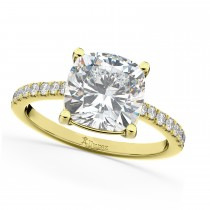 Cushion Cut Moissanite & Diamond Engagement Ring 14k Yellow Gold (2.36ct)