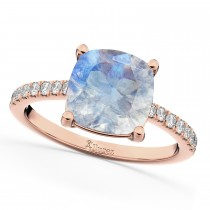 Cushion Cut Moonstone & Diamond Engagement Ring 14k Rose Gold (2.81ct)