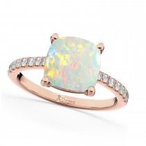 Cushion Cut Opal & Diamond Engagement Ring 14k Rose Gold (2.81ct)
