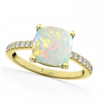 Cushion Cut Opal & Diamond Engagement Ring 14k Yellow Gold (2.81ct)