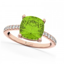 Cushion Cut Peridot & Diamond Engagement Ring 14k Rose Gold (2.81ct)