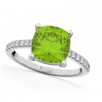 Cushion Cut Peridot & Diamond Engagement Ring 14k White Gold (2.81ct)