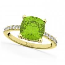 Cushion Cut Peridot & Diamond Engagement Ring 14k Yellow Gold (2.81ct)