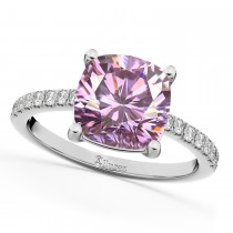Cushion Cut Pink Moissanite & Diamond Engagement Ring 14k White Gold (2.36ct)