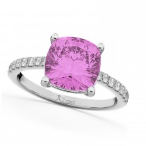 Cushion Cut Pink Sapphire & Diamond Engagement Ring 14k White Gold (2.81ct)