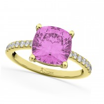 Cushion Cut Pink Sapphire & Diamond Engagement Ring 14k Yellow Gold (2.81ct)