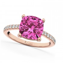 Cushion Cut Pink Tourmaline & Diamond Engagement Ring 14k Rose Gold (2.81ct)