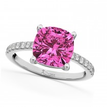 Cushion Cut Pink Tourmaline & Diamond Engagement Ring 14k White Gold (2.81ct)