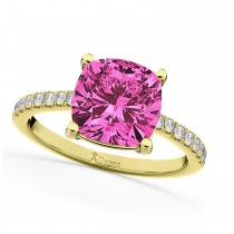 Cushion Cut Pink Tourmaline & Diamond Engagement Ring 14k Yellow Gold (2.81ct)
