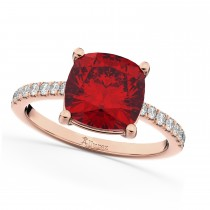 Cushion Cut Ruby & Diamond Engagement Ring 14k Rose Gold (2.81ct)