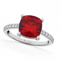 Cushion Cut Ruby & Diamond Engagement Ring 14k White Gold (2.81ct)