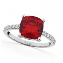 Cushion Cut Ruby & Diamond Engagement Ring 14k White Gold (2.81ct)