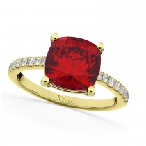 Cushion Cut Ruby & Diamond Engagement Ring 14k Yellow Gold (2.81ct)