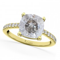 Cushion Cut Salt & Pepper Diamond Engagement Ring 14k Yellow Gold (2.25ct)