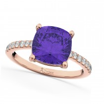 Cushion Cut Tanzanite & Diamond Engagement Ring 14k Rose Gold (2.81ct)