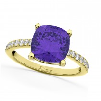 Cushion Cut Tanzanite & Diamond Engagement Ring 14k Yellow Gold (2.81ct)