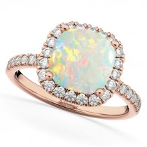 Cushion Cut Halo Opal & Diamond Engagement Ring 14k Rose Gold (3.11ct)