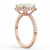Cushion Cut Halo Opal & Diamond Engagement Ring 14k Rose Gold (3.11ct)|escape