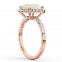 Cushion Cut Halo Opal & Diamond Engagement Ring 14k Rose Gold (3.11ct)