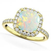 Cushion Cut Halo Opal & Diamond Engagement Ring 14k Yellow Gold (3.11ct)