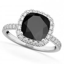 Cushion Cut Halo Black Onyx & Diamond Engagement Ring 14k White Gold (3.11ct)