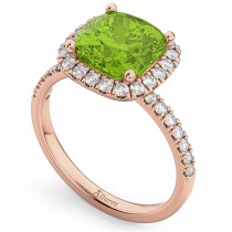 Cushion Cut Halo Peridot & Diamond Engagement Ring 14k Rose Gold (3.11ct)