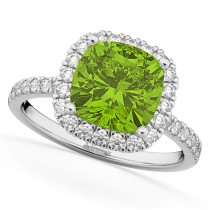 Cushion Cut Halo Peridot & Diamond Engagement Ring 14k White Gold (3.11ct)