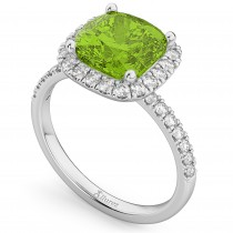Cushion Cut Halo Peridot & Diamond Engagement Ring 14k White Gold (3.11ct)