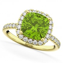 Cushion Cut Halo Peridot & Diamond Engagement Ring 14k Yellow Gold (3.11ct)