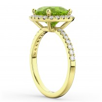 Cushion Cut Halo Peridot & Diamond Engagement Ring 14k Yellow Gold (3.11ct)