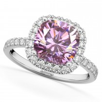 Cushion Cut Halo Pink Moissanite & Diamond Engagement Ring 14k White Gold (2.66ct)