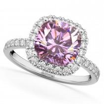 Cushion Cut Halo Pink Moissanite & Diamond Engagement Ring 14k White Gold (2.66ct)