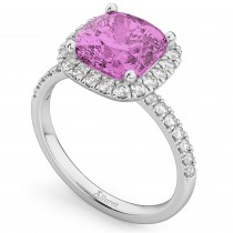 Cushion Cut Halo Pink Sapphire & Diamond Engagement Ring 14k White Gold (3.11ct)