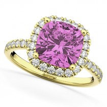Cushion Cut Halo Pink Sapphire & Diamond Engagement Ring 14k Yellow Gold (3.11ct)