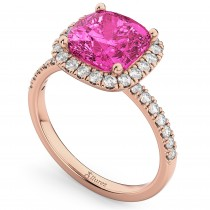 Cushion Cut Halo Pink Tourmaline & Diamond Engagement Ring 14k Rose Gold (3.11ct)
