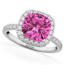 Cushion Cut Halo Pink Tourmaline & Diamond Engagement Ring 14k White Gold (3.11ct)