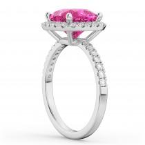 Cushion Cut Halo Pink Tourmaline & Diamond Engagement Ring 14k White Gold (3.11ct)