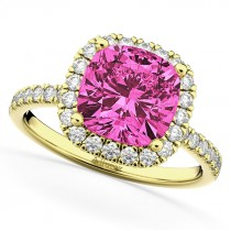 Cushion Cut Halo Pink Tourmaline & Diamond Engagement Ring 14k Yellow Gold (3.11ct)