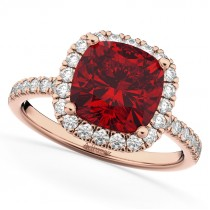 Cushion Cut Halo Ruby & Diamond Engagement Ring 14k Rose Gold (3.11ct)