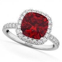 Cushion Cut Halo Ruby & Diamond Engagement Ring 14k White Gold (3.11ct)